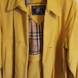 Burberry trench coat with hood.